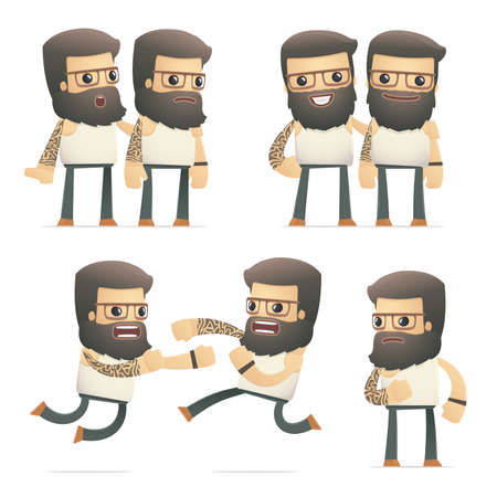 hassle: set of tattoo artist character in different interactive  poses