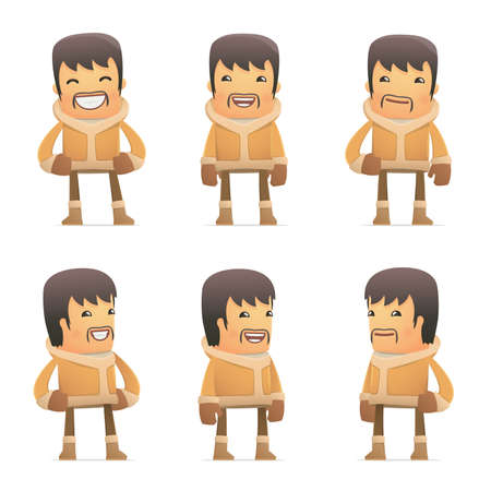 set of eskimo character in different interactive  poses Vector
