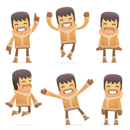 comedic: set of eskimo character in different interactive  poses Illustration
