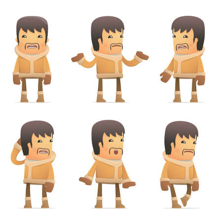 set of eskimo character in different interactive  poses Stock Vector - 30433532