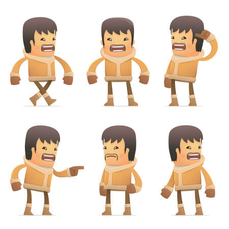 set of eskimo character in different interactive  poses Illustration