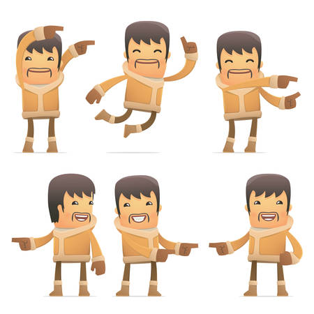 conception: set of eskimo character in different interactive  poses Illustration