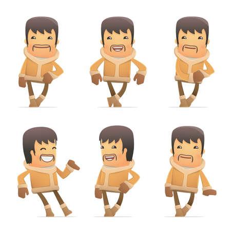 estereotipo: conjunto de caracteres esquimal en diferentes poses interactivos Vectores