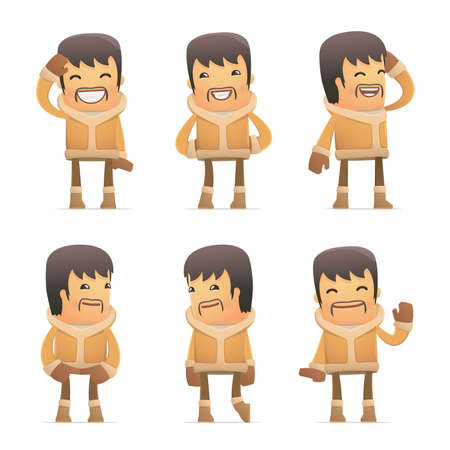 discomfiture: set of eskimo character in different interactive  poses Illustration
