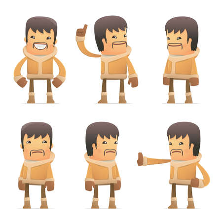 hypocrite: set of eskimo character in different interactive  poses Illustration