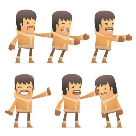 embargo: set of eskimo character in different interactive  poses Illustration