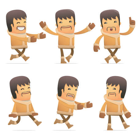 flurry: set of eskimo character in different interactive  poses Illustration