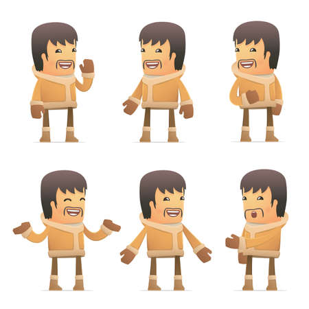 inuit: set of eskimo character in different interactive  poses Illustration