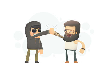 urban funny guys. conceptual illustration Vector