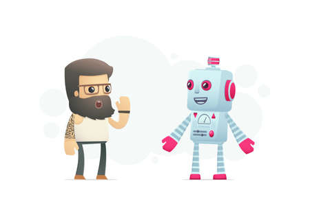 artist communicates with robot. conceptual illustration Vector