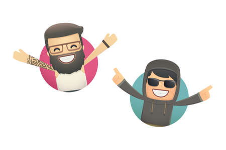 avatars with funny guys. conceptual illustration Vector