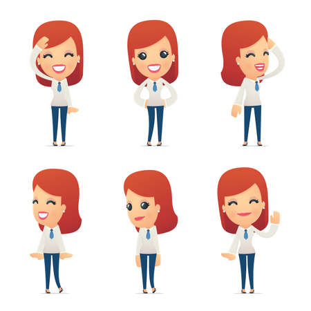 set of reception character in different interactive  poses Illustration