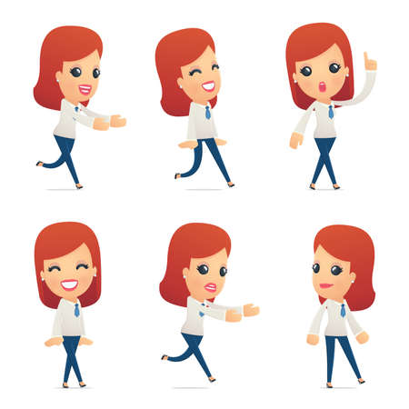 set of reception character in different interactive  poses Vector