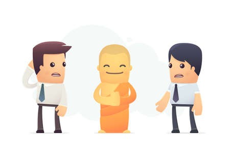 Secrets of Tibetan monks. conceptual illustration Vector