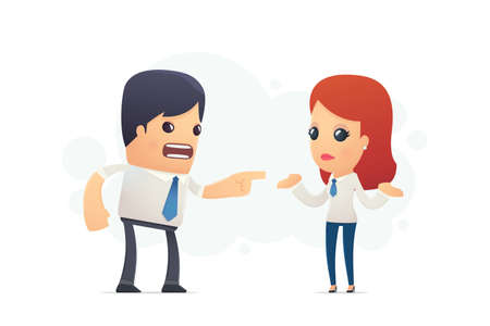 manager scolds his assistant. conceptual illustration