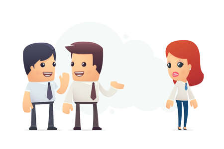 discuss: managers discuss new employee. conceptual illustration