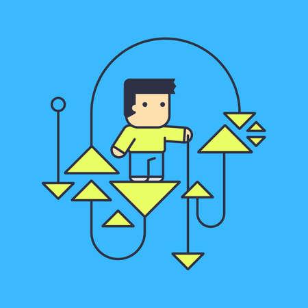 computer scientist: man conducting experiments. Conceptual illustration. line art style