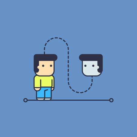 paranoia: self talk. Conceptual illustration. line art style Illustration