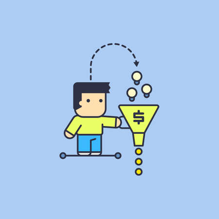 monetization: monetization of their own ideas. Conceptual illustration.