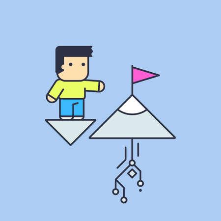 towards: towards goals and great achievements. Conceptual illustration.