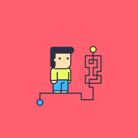 solves: character solves complex logical way. Conceptual illustration. line art style