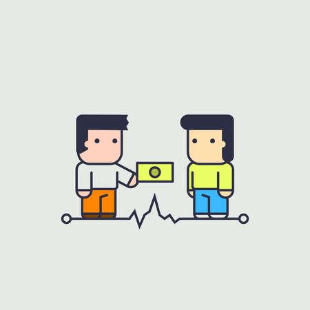 illustration line art: character in the currency exchange. Conceptual illustration. line art style Illustration
