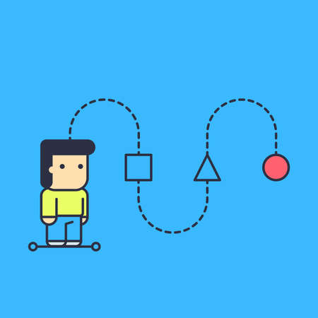 character creates a logical chain and looking for an answer. abstract conceptual illustration. Vector