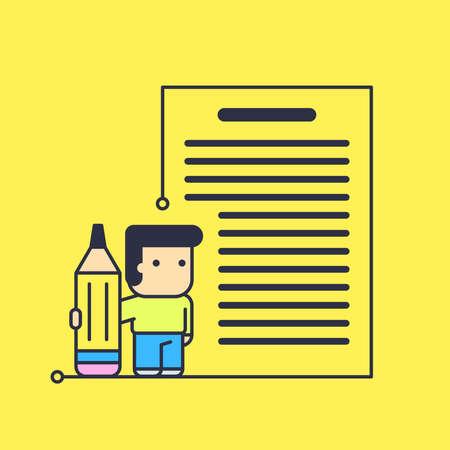 writes: character writes big text. abstract conceptual illustration.