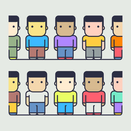 multi ethnic group of characters. society. abstract conceptual illustration.