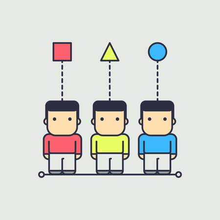 each character has their own point of view. abstract conceptual illustration. Illustration