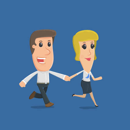 financial condition: Manager runs with customer. funny cartoon characters in business situations