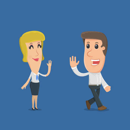 situations: Manager says goodbye to the buyer. funny cartoon characters in business situations