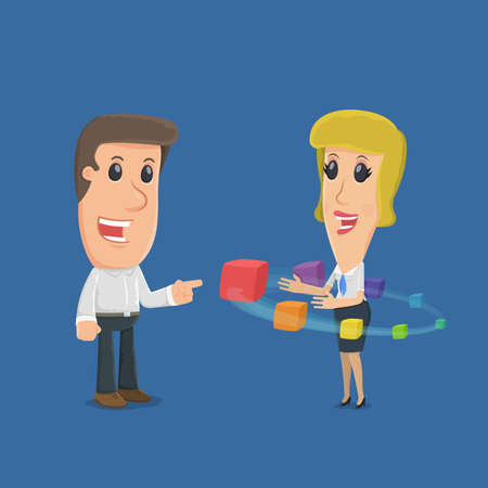 situations: Buyer chooses profitable service. funny cartoon characters in business situations