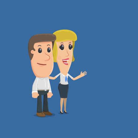 マネージャーは、さまざまな機能について、クライアントを通知します。面白い漫画のキャラクター ビジネスの状況