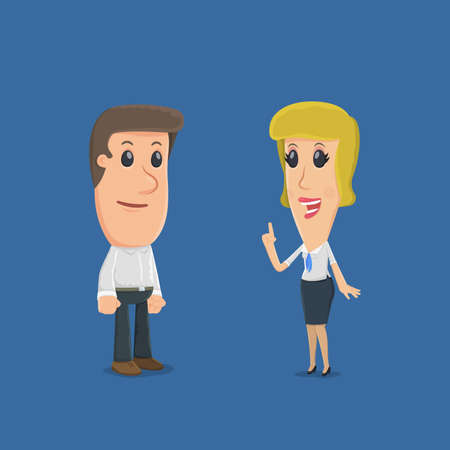 financial condition: The manager tells the client about different functions. funny cartoon characters in business situations