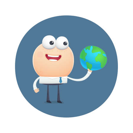 funny character holding planet earth. cartoon illustration. Vector