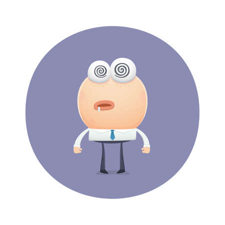hypnotized: funny character worth hypnotized. cartoon illustration. Illustration