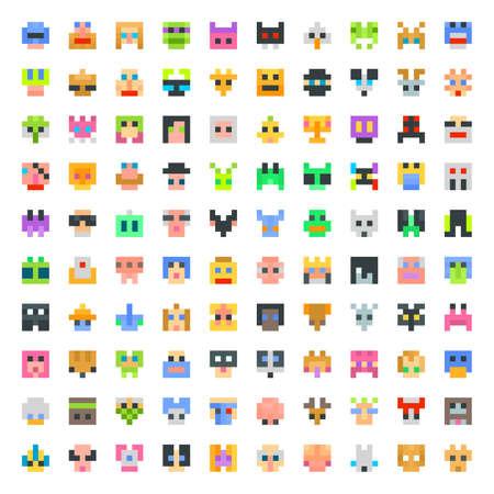 large set of pixel faces. 100 faces set Vector