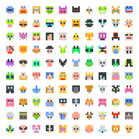 large set of pixel faces. 100 faces set Illustration