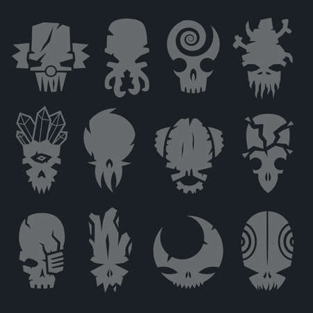 monster face: set of scary monsters skull characters for use in design