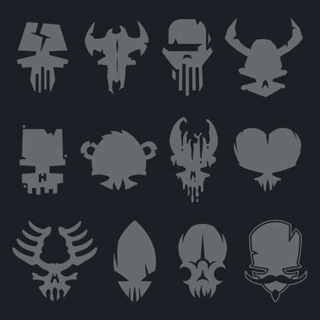 monster tattoo: set of scary monsters skull characters for use in design