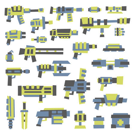 scifi: set of simple minimal sci-fi guns for use in design