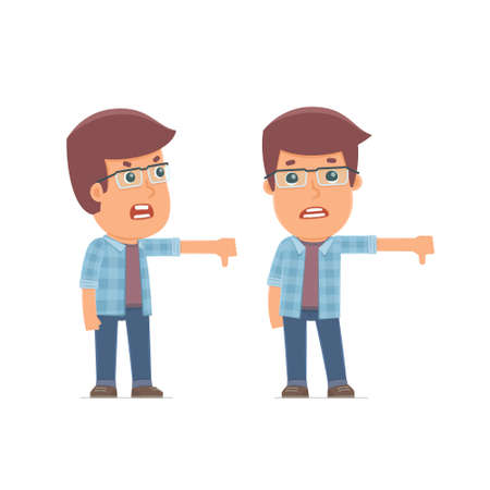 rejection: Frustrated and Angry Character Freelancer showing thumb down as a symbol of negative. for use in presentations, etc.