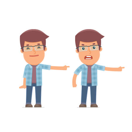 freelancer: Happy and Angry Character Freelancer making presentation using his hand. for use in presentations, etc.