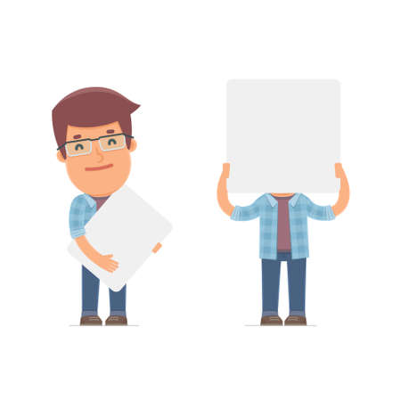 freelancer: Funny Character Freelancer holds and interacts with blank forms or objects. for use in presentations, etc.
