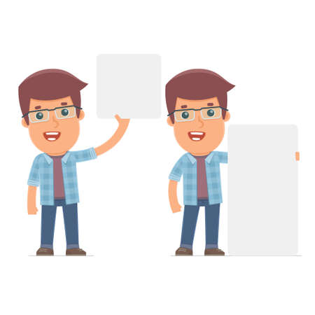 interacts: Funny Character Freelancer holds and interacts with blank forms or objects. for use in presentations, etc.