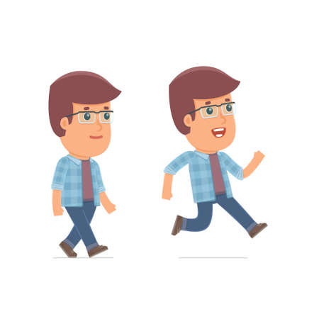 freelancer: Funny and Cheerful Character Freelancer goes and runs. for use in presentations, etc. Illustration