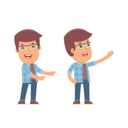 cheerful character: Happy and Cheerful Character Freelancer making presentation using his hand. for use in presentations, etc.