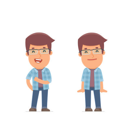 freelancer: Funny Character Freelancer in confident and shy poses. for use in presentations, etc.