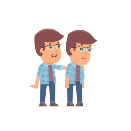 good character: Good Character Freelancer cares and helps to his friend in difficult times. Poses for interaction with other characters from this series Illustration